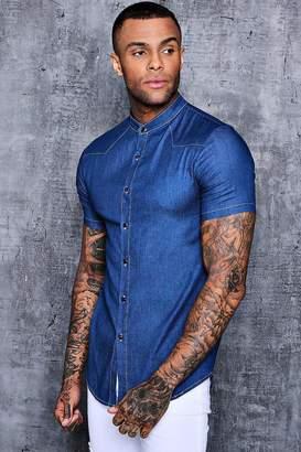 boohoo Short Sleeve Denim Chambray Western Shirt