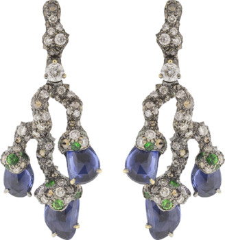 Arunashi Blue Sapphire Leaf Earrings