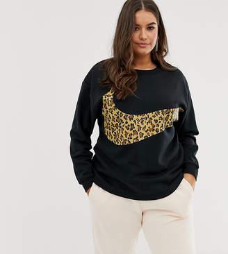 9475c3815 Nike plus black leopard swoosh long sleeve t-shirt