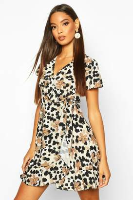 boohoo Floral Leopard Ruffle Mini Tea Dress