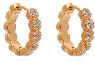 Theodora Warre - Zircon Gold Plated Medium Hoop Earrings - Womens - Gold