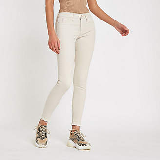 River Island Cream Molly mid rise jeggings