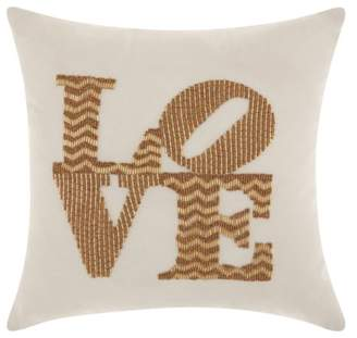 Nourison Luminecence Full Beaded Love Gold Throw Pillow