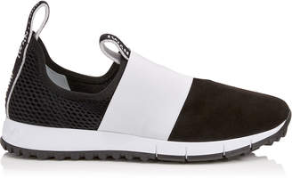 Jimmy Choo OAKLAND/F Black Mesh and Suede Trainers with White Logo Pull Detailing