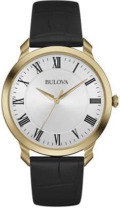 Bulova Men's Black Leather Strap Watch 41mm 97A123