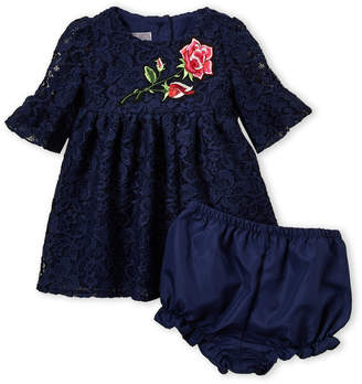 b0786b2a533 Pippa   Julie Newborn Girls) Two-Piece Rose Applique Lace Dress   Bloomers  Set