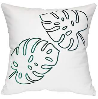 "HYM Palm Leaves Embroidered Pillow - Green - 21"" x 21\"""