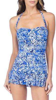 Lauren Ralph Lauren Plus One-Piece Floral Twist Shirred Skirted Swimsuit