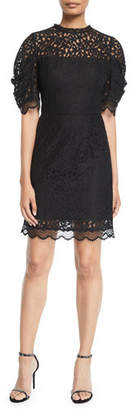 Milly Kara Short-Sleeve Floral Lace Sheath Dress