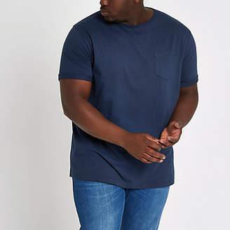 River Island Mens Big and Tall Navy chest pocket T-shirt