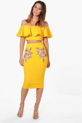 boohoo Embroidered Frill Crop & Midi Co-ord Set