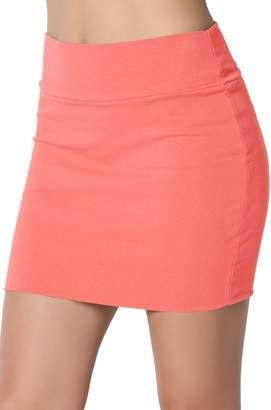 TheMogan Junior's Stretch Cotton Double Layered Tube Mini Skirt Black M