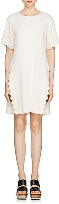 Chloé Women's Scalloped-Edge Wool-Blend Shift Dress
