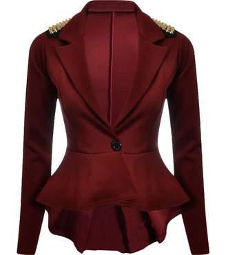 Rimi Hanger Ladies Spike Studded Peplum Blazer Womens Fancy Dress Party Wear Slim Fit Jacket