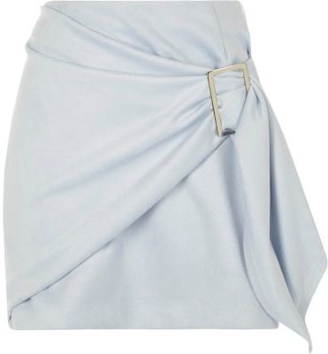 River Island River Island Womens Light blue faux suede wrap front mini skirt