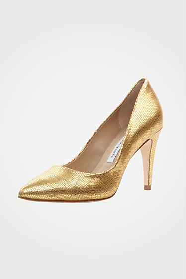 Anette In Gold Metallic Lizard