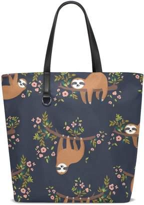 bfb9ba07bc ALAZA Cute Sloth on Tree Floral Tote Bag Purse Handbag for Women Girls