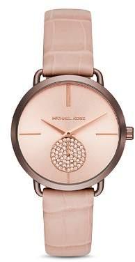 Michael Kors Portia Crocodile-Embossed Leather Strap Watch 37mm