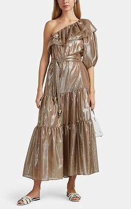 f69987f77c7 Lisa Marie Fernandez Women s Arden Sheer Metallic Cotton-Blend One-Shoulder  Dress - Gold