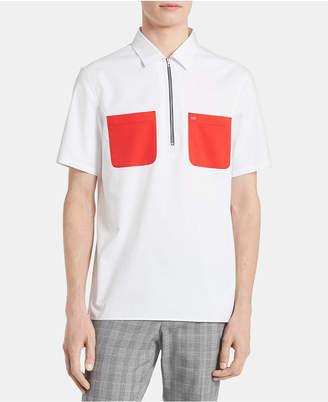 Calvin Klein Men Half-Zip Contrast Pocket Shirt