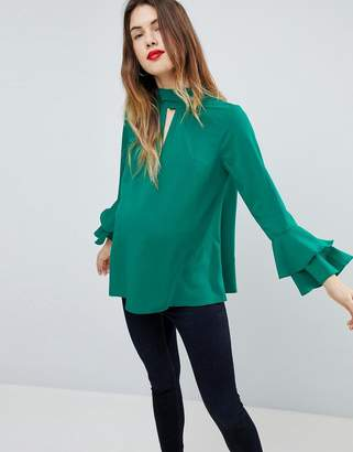 Asos PETITE Cut Out Neck Flared Sleeve Blouse