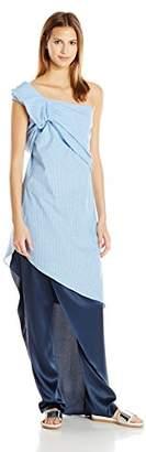 Baja East Women's Cotton Stripe One Shoulder Top