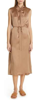 Vince Knot Neck Tie Waist Midi Dress