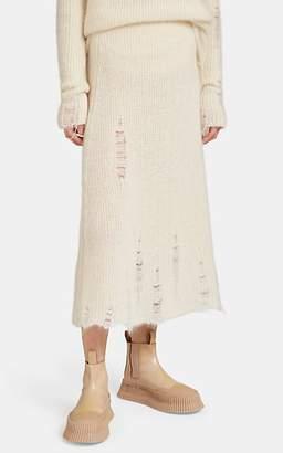 Jil Sander Women's Distressed Mohair-Silk Midi-Skirt - Cream