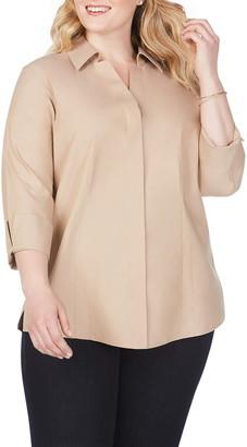 Foxcroft 'Taylor' Three-Quarter Sleeve Non-Iron Cotton Shirt