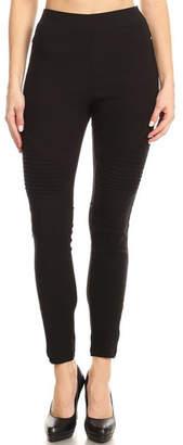 Color 5 Elastic Waist Moto-Pants