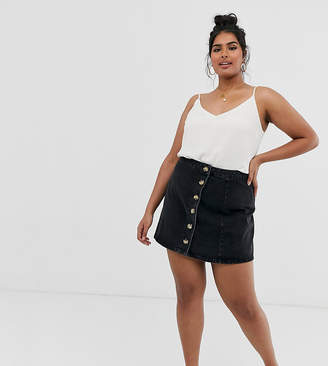 b6a8f6d35d Asos DESIGN Curve denim wrap skirt with side buttons in black