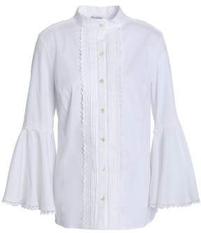 Oscar de la Renta Pintucked Cotton-Blend Poplin Shirt