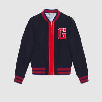 Gucci Felt bomber jacket with G