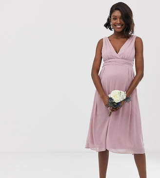 TFNC Maternity Maternity bridesmaid exclusive wrap front midi dress with tie back in pink