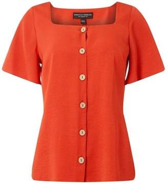 Dorothy Perkins Womens Rust Button Square Neck Shirt
