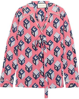 Gucci Embellished Printed Silk Crepe De Chine Blouse - Pink