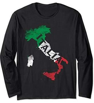 Italian Flag Map Of Italy Love Italia Long Sleeve T-Shirt