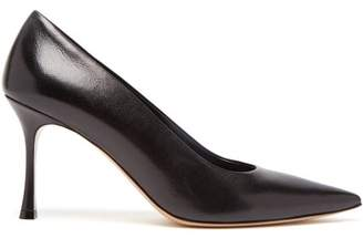 The Row Champagne Leather Point Toe Pumps - Womens - Black