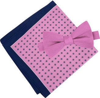 Tommy Hilfiger Men's Solid Pre-Tied Bow Tie & Micro Neat Pocket Square Set $59.50 thestylecure.com