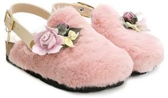 f6a742361172e0 MonnaLisa faux fur flower-embellished slippers