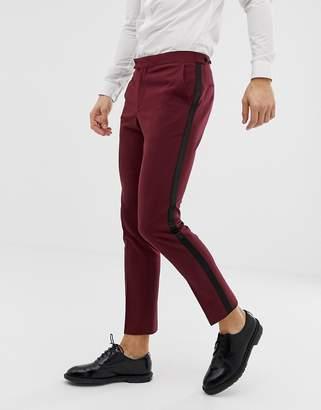 Asos Design DESIGN skinny tuxedo prom suit trouser in plum