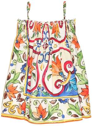 Dolce & Gabbana Maiolica Printed Cotton Poplin Dress