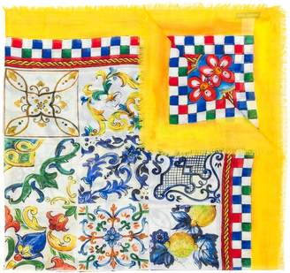 Dolce & Gabbana patch-work woven scarf