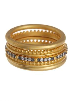 Freida Rothman 14K Gold Vermeil Lattice Motif CZ & Bead Ring Set - Set of 5 - Size 6