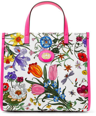 Gucci Flora Medium Leather-trimmed Printed Canvas Tote - Pink