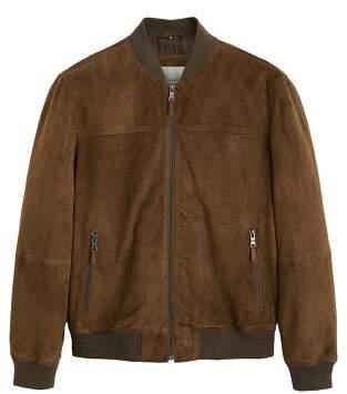 MANGO Suede bomber jacket