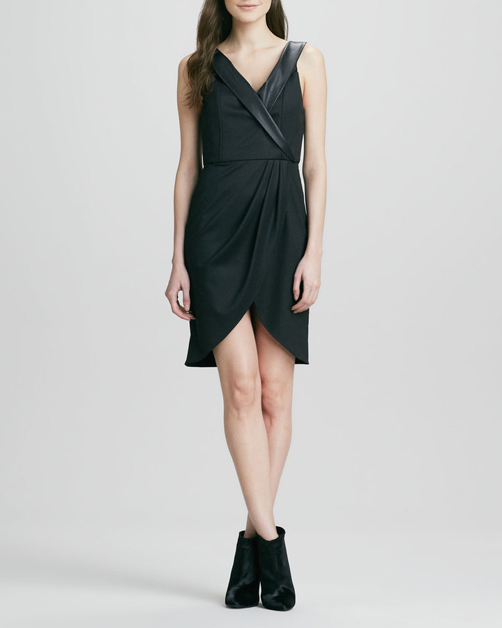 Alice + Olivia Shyna Leather-Collar Dress