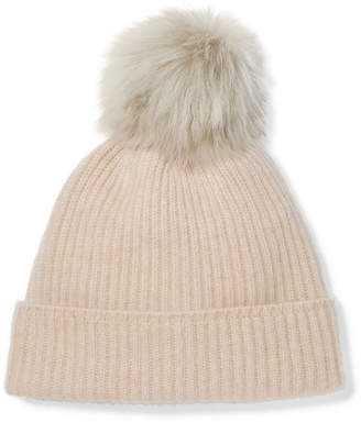 Karl Donoghue Pompom-embellished Ribbed Cashmere Beanie - Light gray