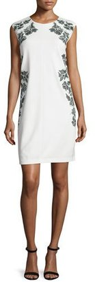Laundry By Shelli Segal Cap-Sleeve Floral-Embroidered Dress, Warm White $265 thestylecure.com