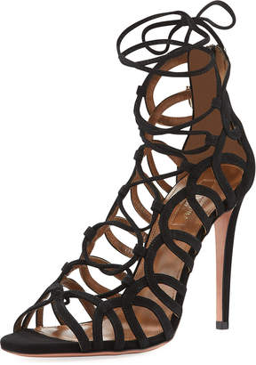Aquazzura Ooh Lala Strappy Suede Sandals, Black